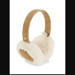 Ugg Shearling & Suede Earmuffs in Chestnut NEW